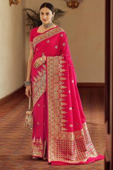Pink Zari Weaved Banarasi Silk Saree
