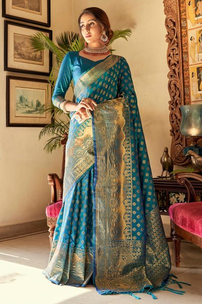 Blue Handloom Weaved Banarasi Silk Saree