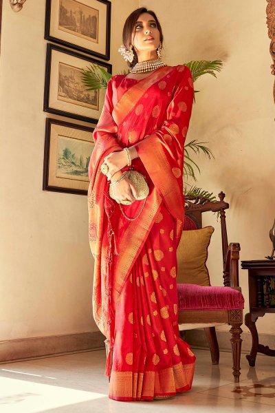 Red Handloom Weaved Banarasi Silk Saree