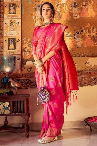 Pink Handloom Weaved Banarasi Silk Saree