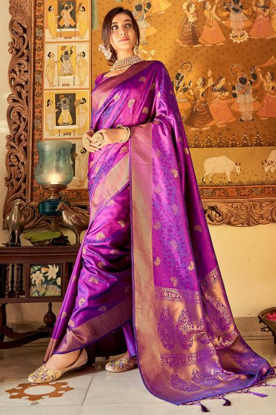 Purple Handloom Weaved Banarasi Silk Saree