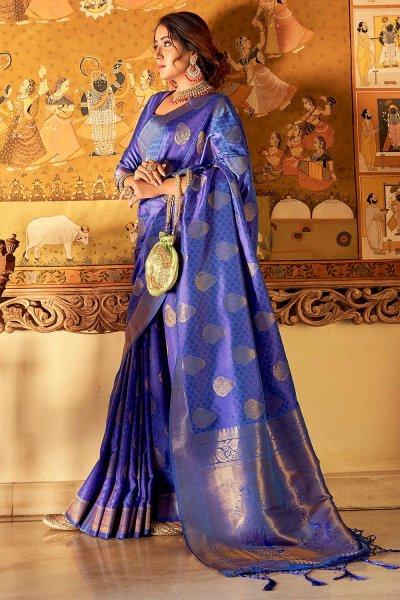 Royal Blue Handloom Weaved Banarasi Silk Saree