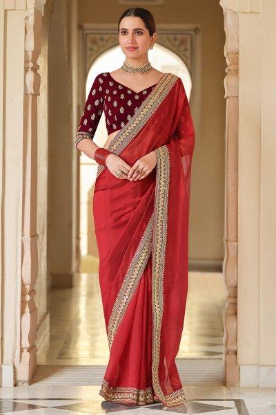 Red Embellished Organza Silk Saree