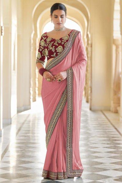 Peachish Pink Embellished Organza Silk Saree