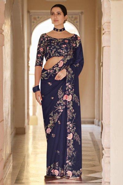 Navy Blue Embellished Organza Silk Saree