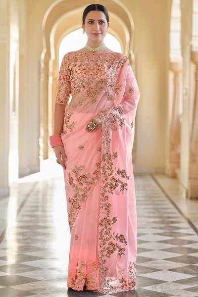 Peach Embellished Organza Silk Saree