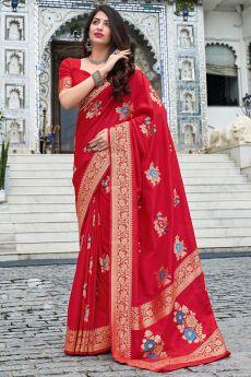 Red Zari Weaved Silk Saree