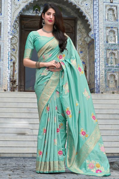 Pastel Blue Zari Weaved Silk Saree
