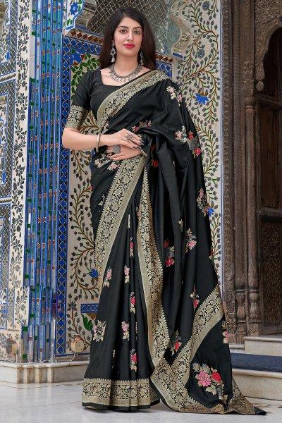 Black Zari Weaved Silk Saree