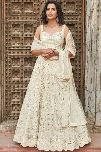 Cream White Embellished Organza Silk Lehenga Choli