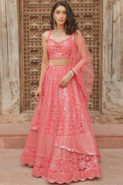 Coral Pink Embellished Organza Silk Lehenga Choli