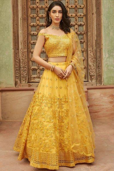 Mustard Yellow Embellished Organza Silk Lehenga Choli