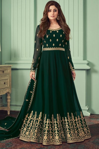 Bottle Green Georgette Embroidered Anarkali Suit
