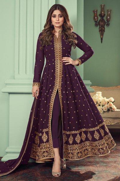 Plum Georgette Embroidered Anarkali Suit