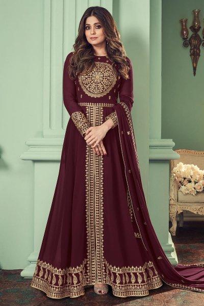 Wine Georgette Embroidered Anarkali Suit