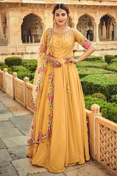 Mustard Yellow Embellished Georgette Anarkali Dress