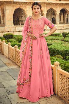 Light Pink Embellished Georgette Anarkali Dress