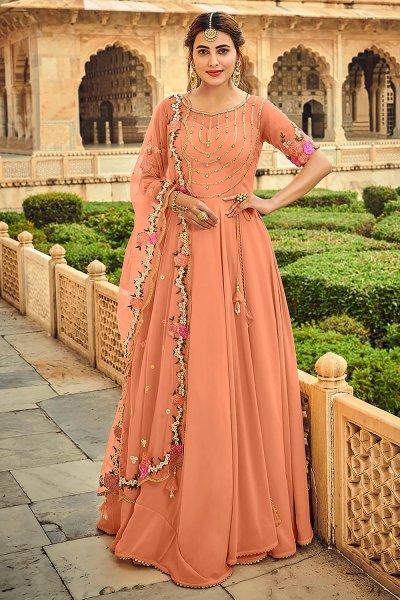 Light Orange Embellished Georgette Anarkali Dress