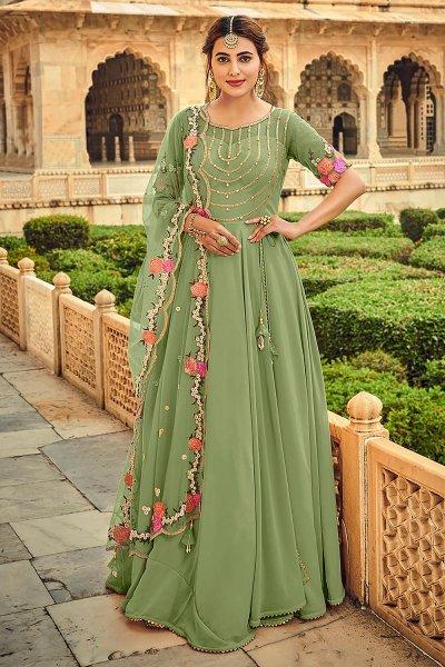 Olive Green Embellished Georgette Anarkali Dress