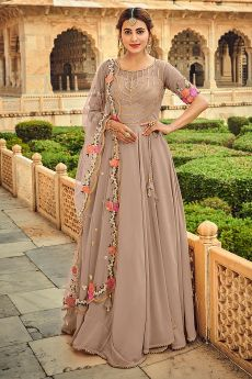 Mauve Embellished Georgette Anarkali Dress