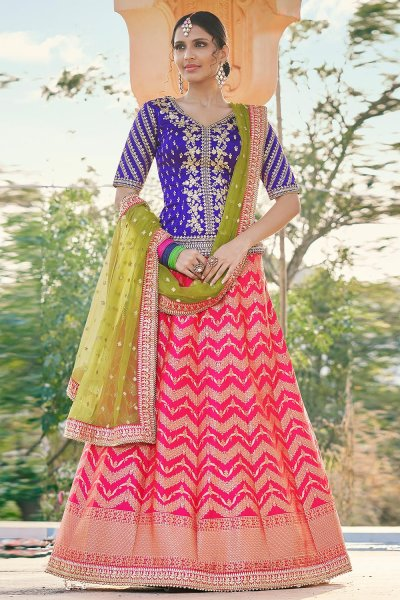 Pink & Royal Blue Brocade Silk Embroidered Lehenga