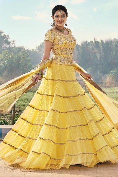 Yellow Net Embellished Lehenga