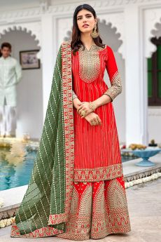Red Georgette Embellished Suit With Palazzo