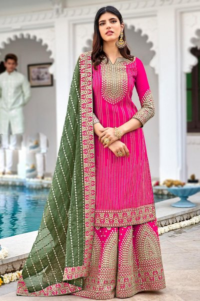 Pink Georgette Embellished Suit With Palazzo