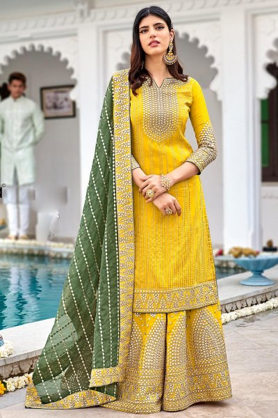 Yellow Georgette Embellished Suit With Palazzo