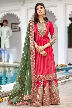 Reddish Pink Georgette Embellished Suit With Palazzo