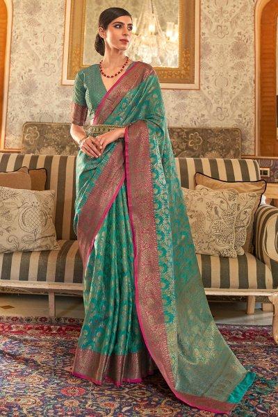 Turquoise Green Tussar Silk Weaved Saree