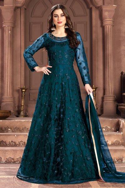 Teal Blue Net Embellished Anarkali Dress