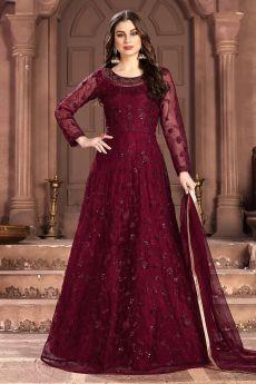 Wine Red Net Embellished Anarkali Dress
