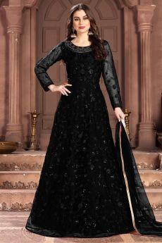Black Net Embellished Anarkali Dress