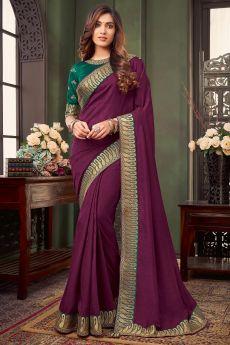 Plum Bordered Silk Saree