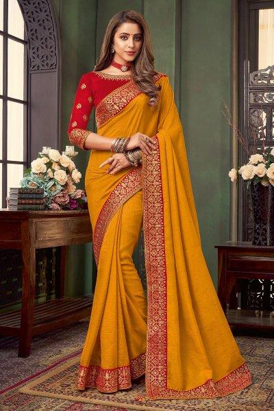 Mustard Yellow Bordered Silk Saree