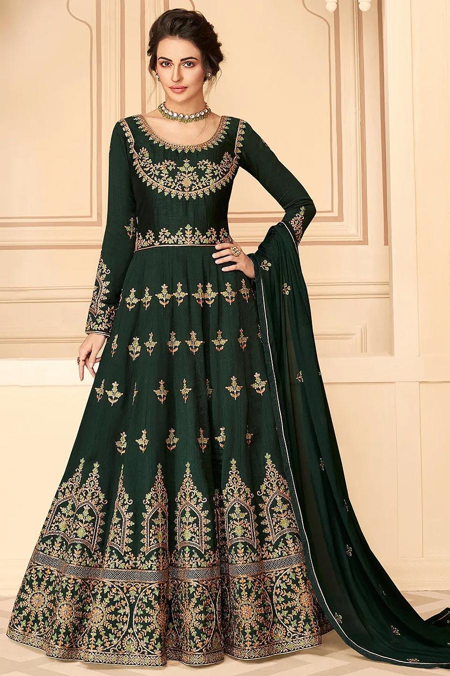 Bottle Green Silk Embellished Anarkali Suit