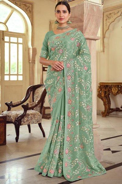 Mint Green Georgette Embellished Saree