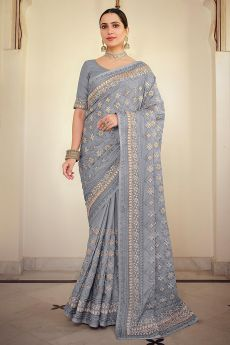 Grey Blue Georgette Embellished Saree