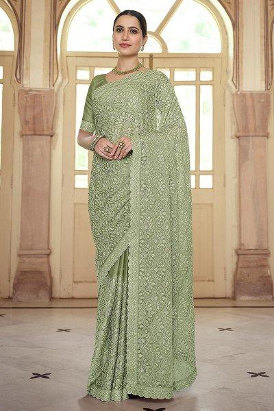 Sage Green Chiffon Embellished Saree
