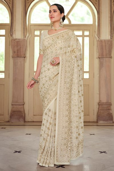 Off White Georgette Embellished Saree