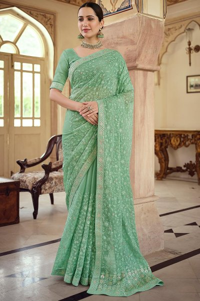 Sea Green Chiffon Embellished Saree