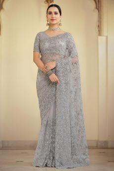 Grey Net Embellished Saree
