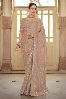 Light Brown Georgette Embellished Saree