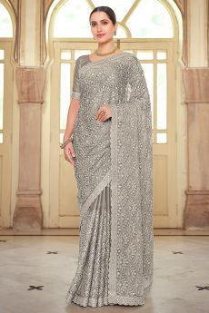 Grey Chiffon Embellished Saree