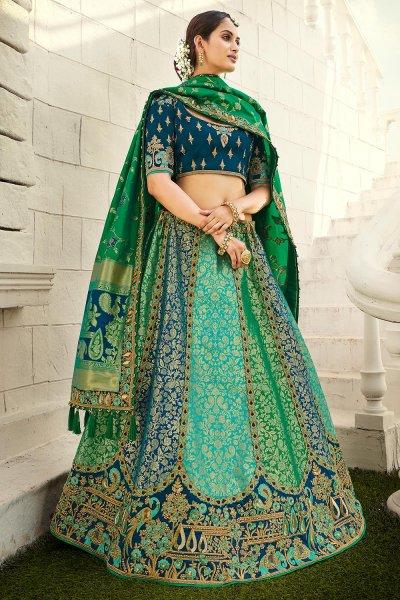 Navy Blue & Dark Green Silk Embroidered Lehenga Choli