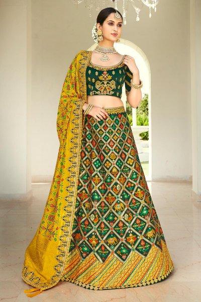 Bottle Green & Yellow Silk Embroidered Lehenga Choli