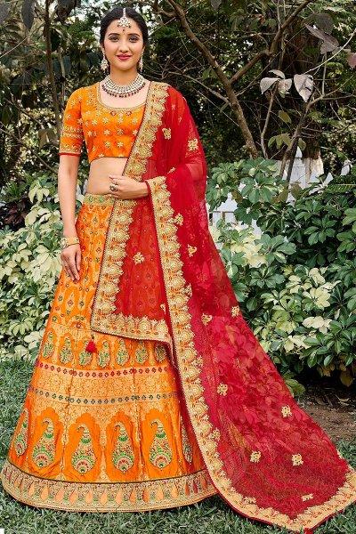 Orange Silk Embroidered Lehenga Choli