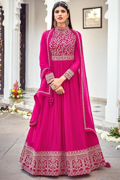 Magenta Zari Embroidered Georgette Anarkali Dress