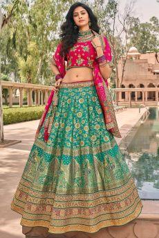 Turquoise Green And Pink Zari Embroidered Banarasi Silk Lehenga